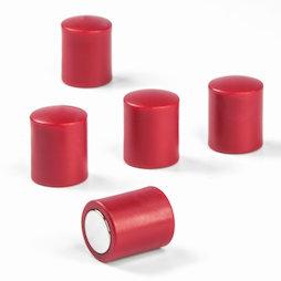 M-PC/red, Bordmagneten cilindrisch, neodymium magneten met kunststof kapje, Ø 14 mm, rood