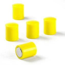 M-PC/yellow, Bordmagneten cilindrisch, neodymium magneten met kunststof kapje, Ø 14 mm, geel