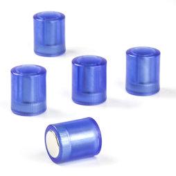M-PC/bluet, Aimants tableau cylindriques, aimants néodyme avec capuchon en plastique, Ø 14 mm, bleu transparent