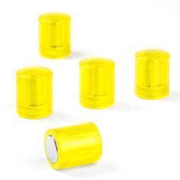 M-PC/yellowt, Bordmagneten cilindrisch, neodymium magneten met kunststof kapje, Ø 14 mm, transparent geel