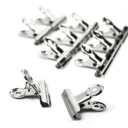 M-87, Letter clamp 50 mm, made of metal, silver-coloured, set of 10, not magnets!