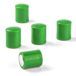 M-PC/green, Magneti per lavagna cilindrici, magneti al neodimio con cappuccio in plastica, Ø 14 mm, verde
