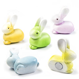 LIV-126, Bunnies, fridge magnets in bunny shape, coloured, set of 5