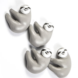 LIV-125, Sloth, fridge magnets in sloth shape, white-grey, set of 4