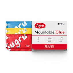 SUG-03/mixed1, Sugru set of 3, mouldable glue, 1x red, 1x yellow, 1x blue, packages of 5 g each