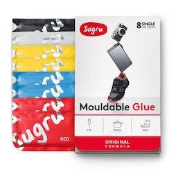 SUG-08/mixed1, Sugru pak van 8, vormbare kleefmassa, 1x zwart, 1x wit, 2x rood, 2x blauw en 2x geel, pakjes van 5 g elk