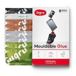 SUG-08/mixed4, Sugru pacco da 8, colla modellabile, 2x verde, 2x marrone, 2x grigio, 1x nero, 1x bianco, confezioni da 5 g ciascuna