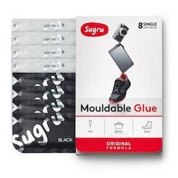 SUG-08/mixedbw, Sugru pacco da 8, colla modellabile, 4x nero, 4x bianco, confezioni da 5 g ciascuna