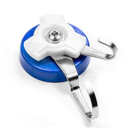 M-90, Magnetic hook with rotating double hook, plasticised, extra strong, adhesive force approx. 18 kg