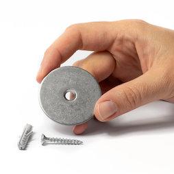 M-DOOR-03, Set di montaggio per fermaporta, disco metallico con foro svasato, da avvitare al pavimento o alla parete