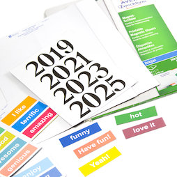 MIP-A4-03, Magnetic signs printable, A4 sheets with perforated labels, printable on inkjet printers, for labelling metal shelves, whiteboards, etc.