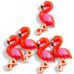 LIV-130, Flamant rose, aimants décoratifs en forme de flamants roses, lot de 5