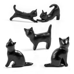 LIV-138, Chats noirs, aimants décoratifs en forme de chat, lot de 5