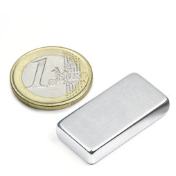 Q-30-15-06-Z, Block magnet 30 x 15 x 6 mm, neodymium, 42SH, zinc-plated