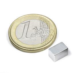 Q-08-05-05-Z, Block magnet 8 x 5 x 5 mm, neodymium, N45, zinc-plated
