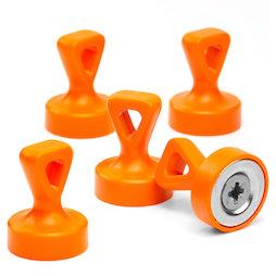 M-OF-P17/orange, Greepmagneten met oog, sterke bordmagneten neodymium, geplastificeerd, oranje