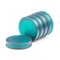M-OF-BRD25/green, Bordmagneten rond, neodymium magneten met kunststof kapje, aan beide kanten vasthoudend, transparent groen