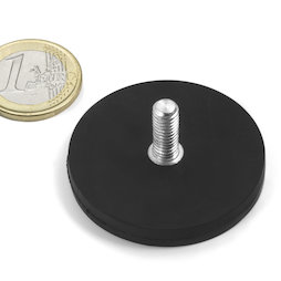 GTNG-43, rubber coated pot magnet with threaded peg, Ø 43 mm, thread M4