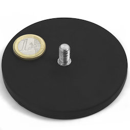 GTNG-88, magnete gommato con base in acciaio con perno filettato, Ø 88 mm, filettatura M8