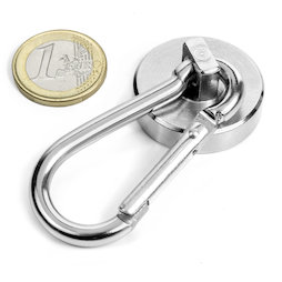 KTN-32, Pot magnet with carabiner Ø 32 mm, length of carabiner 60 mm