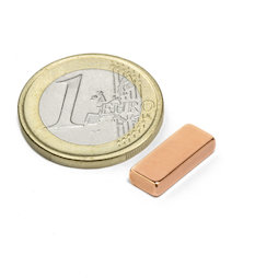SALE-125, Block magnet 15 x 6 x 3 mm, neodymium, N40, copper-plated