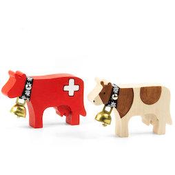LIV-141, Trauffer Holzkühe magnetisch, handgemachte Kühlschrankmagnete, 2 verschiedene Kühe erhältlich