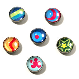 LIV-05, Crazy, deco magnets made of acrylic and metal, set of 6
