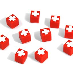 AG-01, Swiss Cube, deco magnets red with Swiss cross