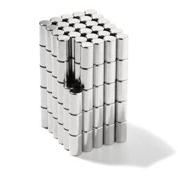 S-04-07-N, Cilindro magnetico Ø 4 mm, altezza 7 mm, neodimio, N45, nichelato
