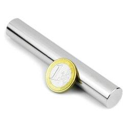 S-15-100-N, Cylindre magnétique Ø 15 mm, hauteur 100 mm, néodyme, N35, nickelé