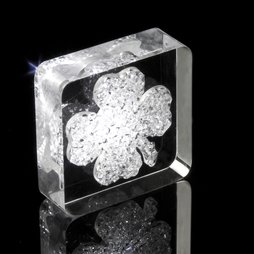 LIV-39, Lucky Diamond, fridge magnet Shamrock, with Swarovski crystals