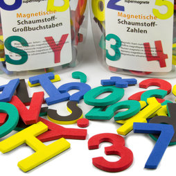M-38, Letters or numbers, set of magnetic symbols, made of EVA foam, 4 assorted colours