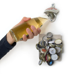 M-40, Wall bottle opener, with magnetic beer cap collector, includes mounting accessories