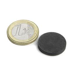 FE-S-20-03, Disco magnetico Ø 20 mm, altezza 3 mm, ferrite, Y35, senza rivestimento