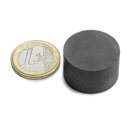 FE-S-25-15, Disco magnetico Ø 25 mm, altezza 15 mm, ferrite, Y35, senza rivestimento