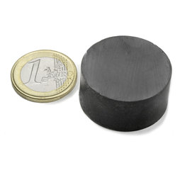 FE-S-30-15, Disc magnet Ø 30 mm, height 15 mm, ferrite, Y35, no coating