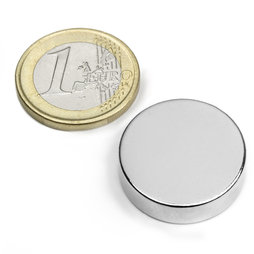 S-25-07-N, Disco magnetico Ø 25 mm, altezza 7 mm, neodimio, N42, nichelato