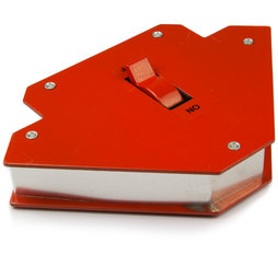 WS-WLD-02, Équerre pour soudage grande, magnétique, avec interrupteur marche/arrêt, longueur des côtés env. 12 cm
