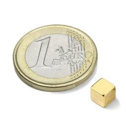 W-05-N50-G, Cube magnétique 5 mm, néodyme, N50, doré