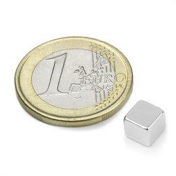 W-06-N, Cube magnétique 6 mm, néodyme, N42, nickelé