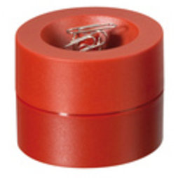 M-CLIP/red, Paper clip dispenser magnetic, with strong magnet in the centre, plastic, red