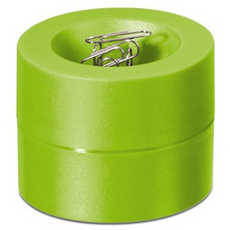 M-CLIP/lemon, Paper clip dispenser magnetic, with strong magnet in the centre, plastic, light green