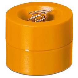M-CLIP/orange, Paper clip dispenser magnetic, with strong magnet in the centre, plastic, orange