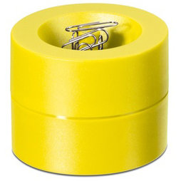 M-CLIP/yellow, Paper clip dispenser magnetic, with strong magnet in the centre, plastic, yellow