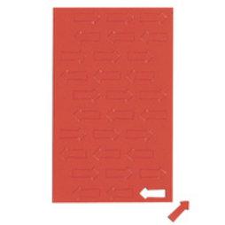 BA-012A/red, Symboles magnétiques flèche petite, pour tableaux blancs & tableaux de planning, 30 symboles par feuille, rouge
